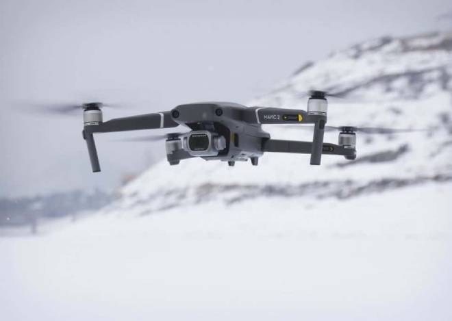 drone in snow